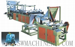 Ribbon-through Conituous-rolled Bag Making Machine