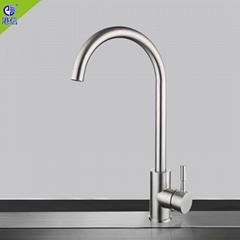廚房304不鏽鋼拉絲水龍頭房間可旋轉菜盤彎頭涼熱兩用水龍頭