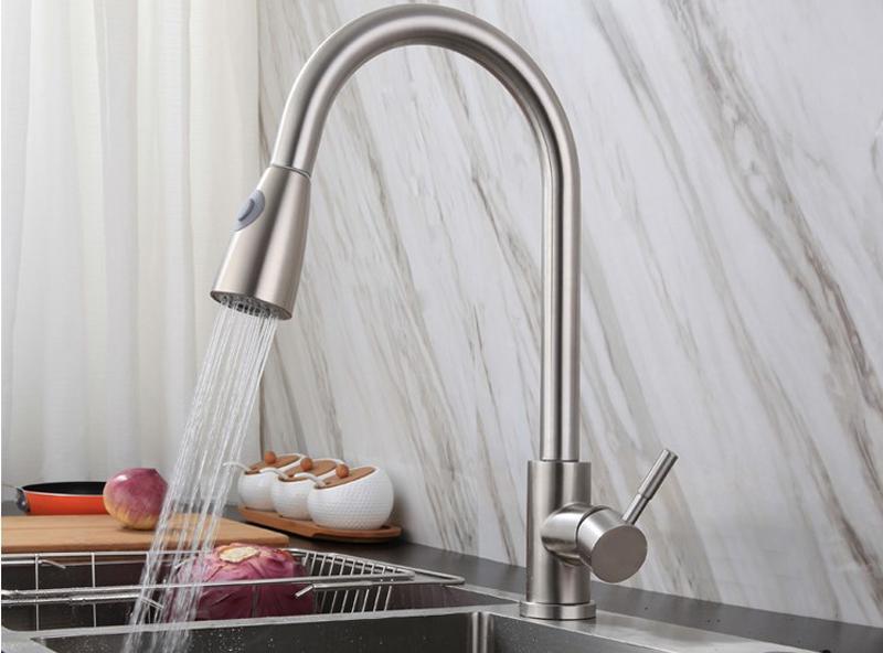 家用廚房間菜盤冷熱活動拉出式廚房水龍頭抽拉式防濺水龍頭 4