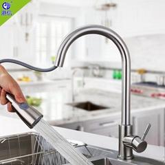家用廚房間菜盤冷熱活動拉出式廚房水龍頭抽拉式防濺水龍頭