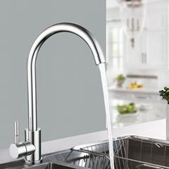 不鏽鋼廚房龍頭亮面可360旋轉冷熱出水龍頭