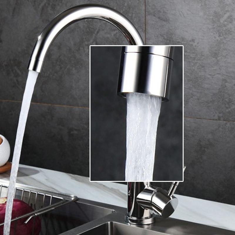不鏽鋼廚房龍頭亮面可360旋轉冷熱出水龍頭 2