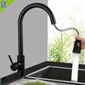 不鏽鋼黑色拉出式水龍頭冷熱出水