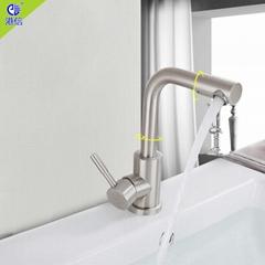 不鏽鋼浴室冷熱龍頭可旋轉水龍頭