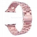 Stainless Steel Link Watch Band with Butterfly Buckle for apple watch 3/2/1