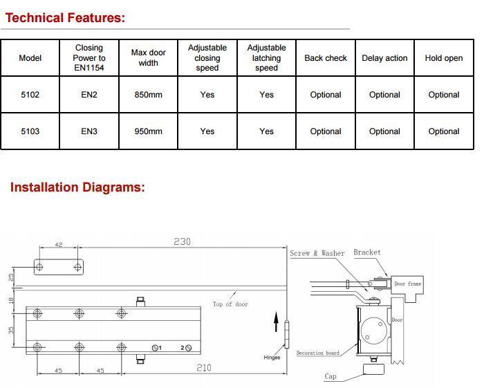 DC-5100闭门器 EN1154标准 寿命50万次   2