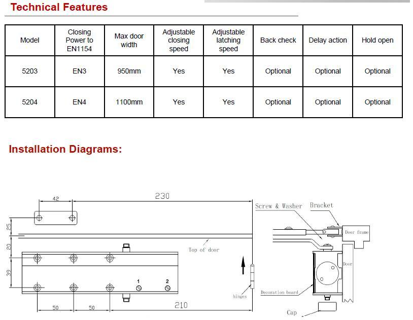 DC-5200闭门器(可配导轨 )选配定位功能 2