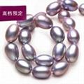 定製米形天然淡水珍珠項鏈女銀扣