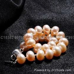七夕情人节礼物粉色淡水珍珠手链 4