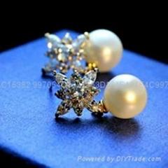 七夕情人节礼物珍珠锆石耳钉耳环