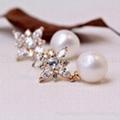 七夕情人节礼物珍珠锆石耳钉耳环 2