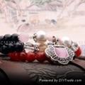 红玛瑙珍珠长命锁手饰七夕情人节