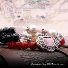 红玛瑙珍珠长命锁手饰七夕情人节礼物