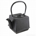 0.7 liter square cast iron teapot in