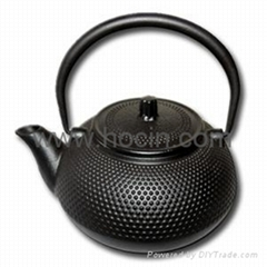 600ml Nail head design cast iron teapot in black