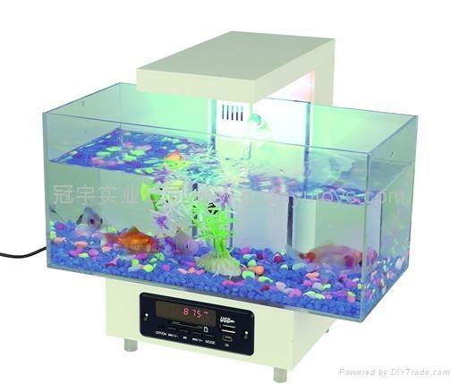新款時尚迷你魚缸,LED時鐘顯示,收音機 1