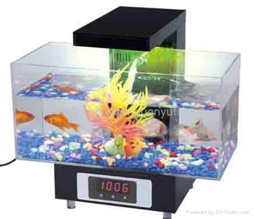 新款時尚迷你魚缸,LED時鐘顯示,收音機 3