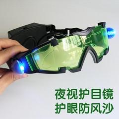 儿童安全護目鏡 防風鏡防塵鏡 LED炫酷發光眼鏡 抖音 釣魚夜視鏡