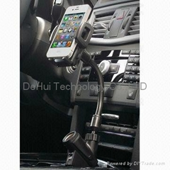 Universal Dual USB Car Charger Holder with cigarette socket for smartphones