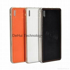 leather surface power bank 8000mah with wireless charger
