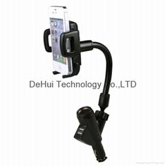 Universal Dual USB Car Charger Holder with cigarette socket for smartphones