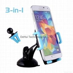 Universal 3in1 Car Holder Mount for Smart phones / iphone /Samsung/HTC/Sony etc