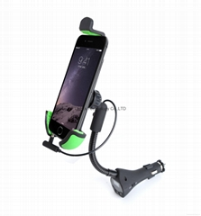 Universal Car Mount With USB Car Charger and Radio FM Transmitter for Smartphone