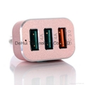 Quick Charge 3.0 42W 3-Ports Fast USB Smart Car Charger  6