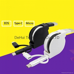3in1 usb cable Type-C/Lighting 8pin/Micro USB for Smartphone