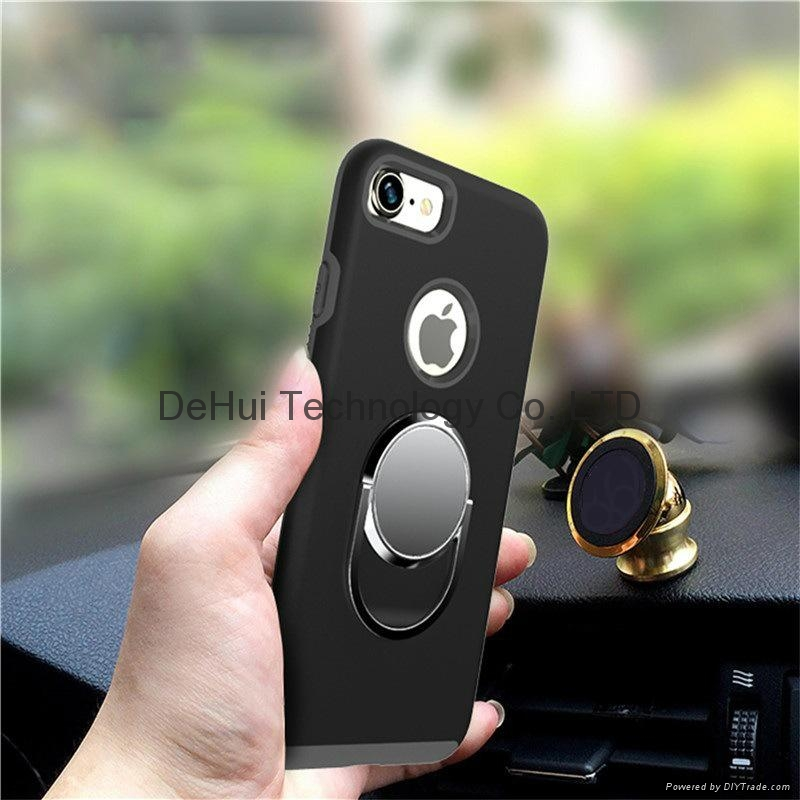 Anti-drop case with car holder aluminum ring for iphone 7