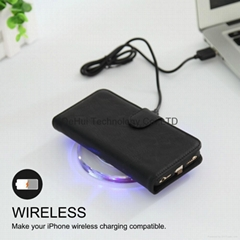 leather case with wireless charging receiver qi standard for iphone 6/6s/7