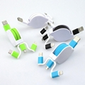 3-in-1 Retractable USB Cables(Lighting + Type-C + Micro USB) 2A Fast Charge 2