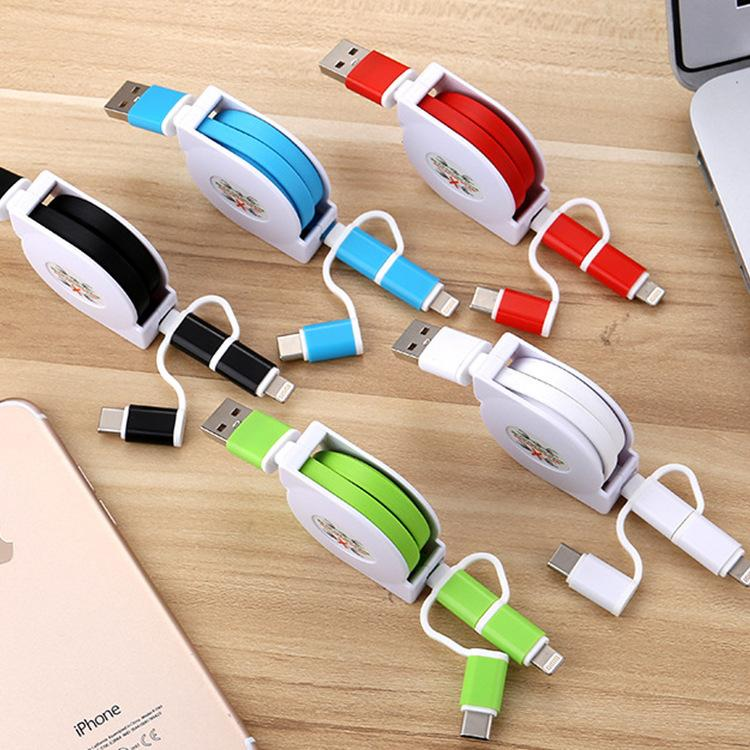 3-in-1 Retractable USB Cables(Lighting + Type-C + Micro USB) 2A Fast Charge