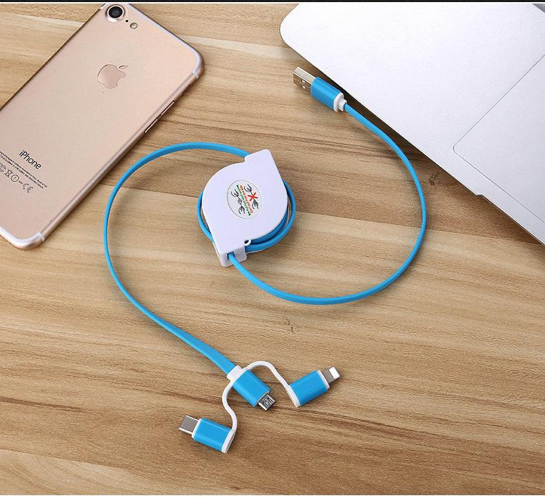 3-in-1 Retractable USB Cables(Lighting + Type-C + Micro USB) 2A Fast Charge 5