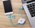 3-in-1 Retractable USB Cables(Lighting + Type-C + Micro USB) 2A Fast Charge 9