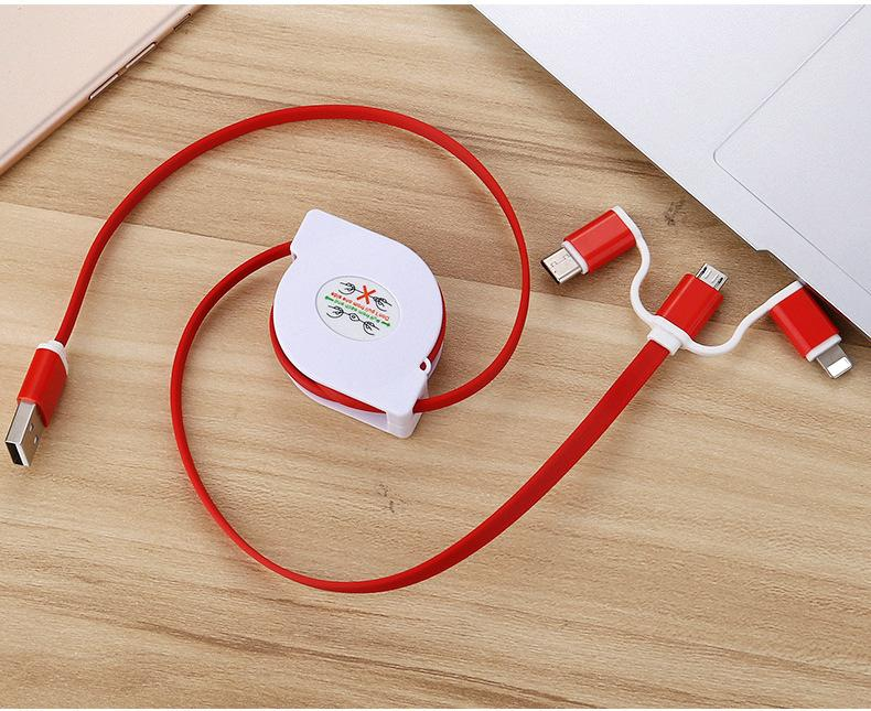 3-in-1 Retractable USB Cables(Lighting + Type-C + Micro USB) 2A Fast Charge 11