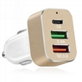 QC3.0 USB Fast Car Charger with Type-C port