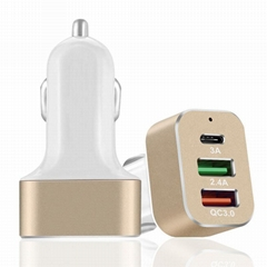 QC3.0 USB Fast Car Charger with Type-C