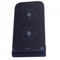 2-Coils QI Wireless Charger Desktop Holder for Smartphones/iPhone/Samsung