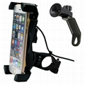 Universal Motorcycle Phone Mount with USB Charger  5V 2A on Handlebar or Mirror