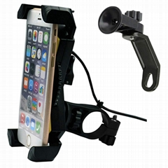 Universal Motorcycle Phone Mount with USB Charger  5V 2A on Handlebar or Mirror (Hot Product - 1*)