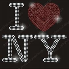 I Love NY Hot Fix Rhinestone Motif Iron