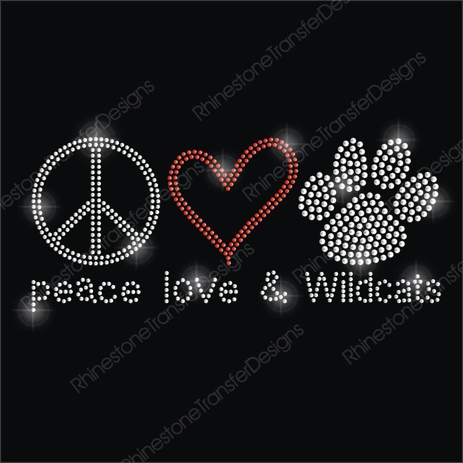Peace Love Wildcat Iron On Rhinestone Motif 1