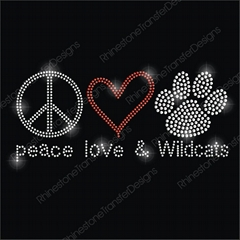 Peace Love Wildcat Iron On Rhinestone Motif