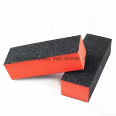 3-Sides Black Brick Shaped Nail Polishing Tool for Nail Art