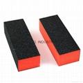 3-Sides Black Brick Shaped Nail Polishing Tool for Nail Art