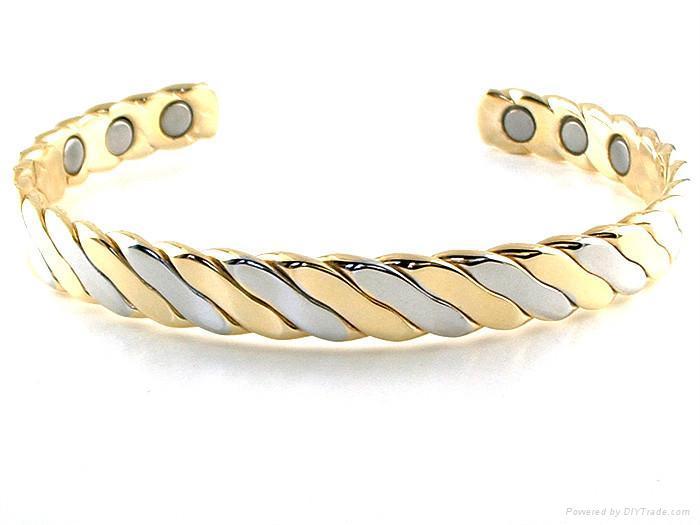 Gold Silver Twist Copper Magnetic Bracelet