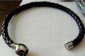 Magnetic clasp with round leather cord bracelet