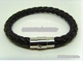 hide rope necklace with stainless steel clasp & cooper clasp