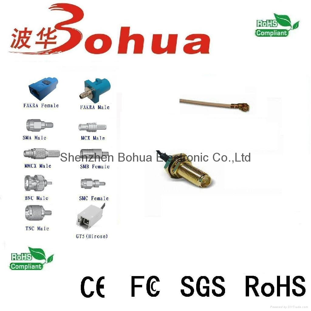 RP-SMA female straight bulklhead to U.FL/IPEX with 50-1000mm length RG178 cable 1